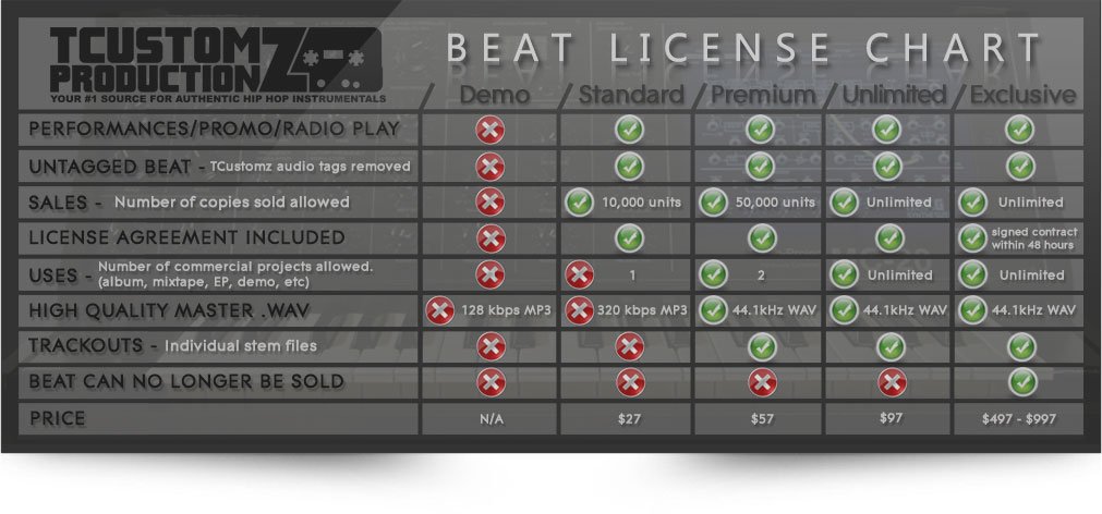 License Agreement Chart Beat Leases Exclusive Rights Tcustomz